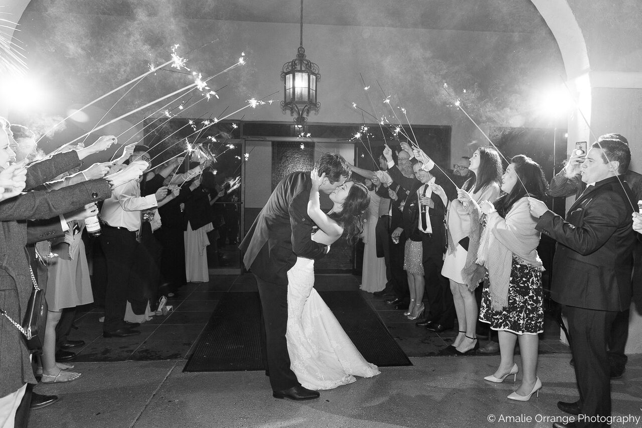 Orlando wedding at Mission Inn Resort couple grand sparkler exit