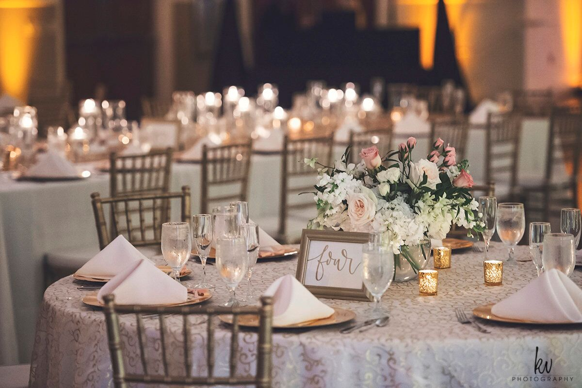 Orlando Wedding at Lake Mary Event's Center reception table set up with amber uplighting