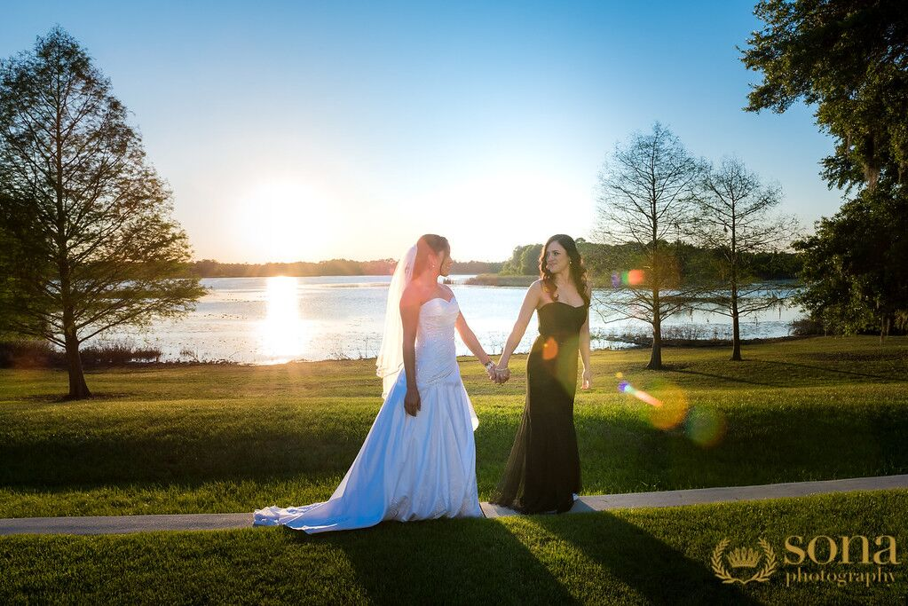 Orlando united wedding at Lake Mary Event's Center couples outdoor photos
