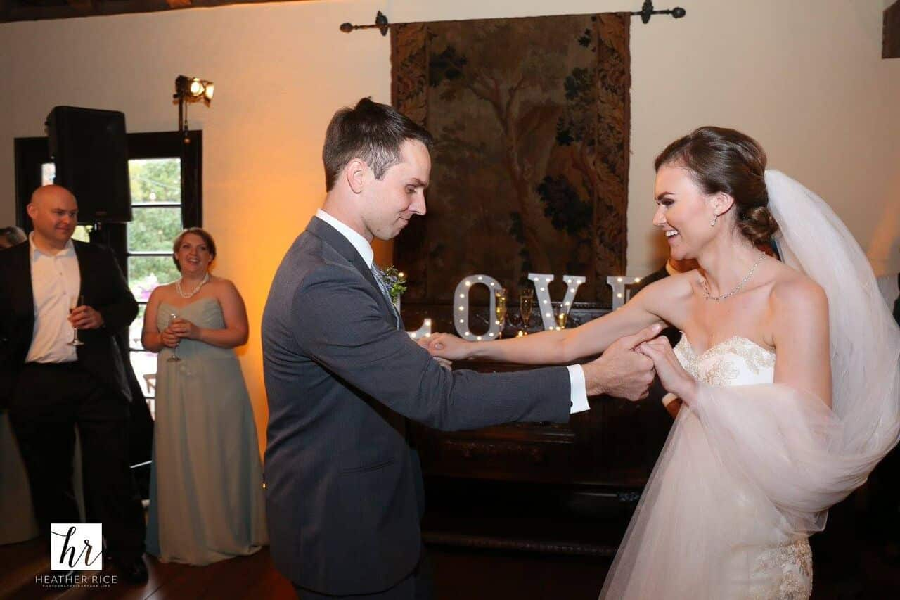 Elegant orlando wedding at Casa Feliz reception dancing with couple