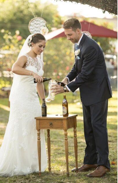 Orlando wedding DJ at The Acre Orlando bride and groom beer ceremony