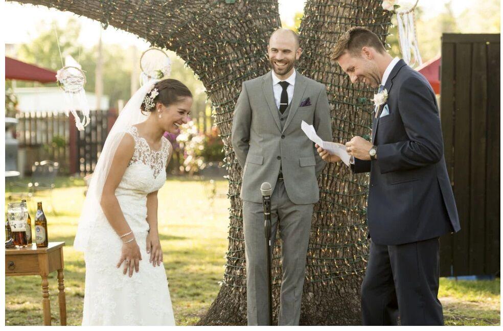 Orlando wedding DJ at The Acre Orlando bride and groom vow ceremony