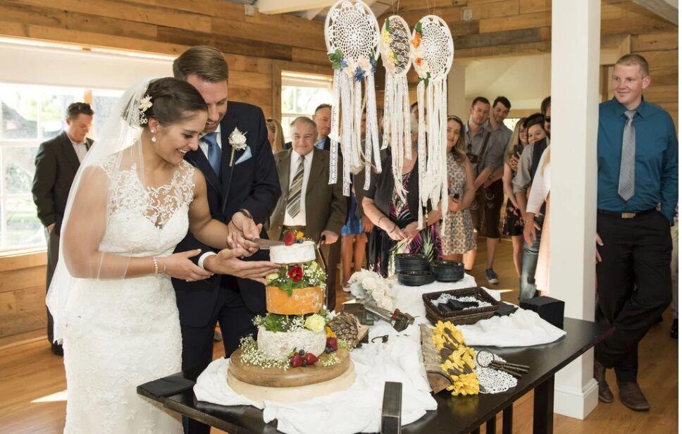 Orlando wedding DJ at The Acre Orlando wedding cheese cake cutting at reception