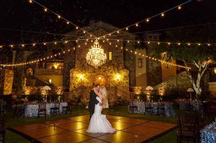 outdoor wedding dj at bella collina with snow