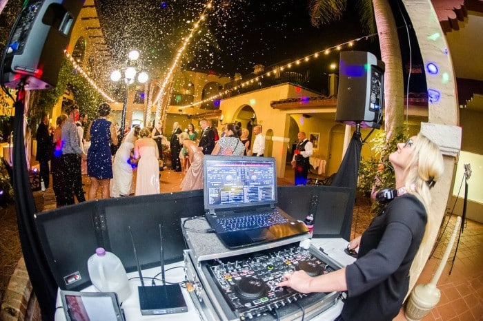 Orlando Wedding DJ Services at Mission Inn Resort wedding reception with snow falling and Kristin from Our DJ Rocks