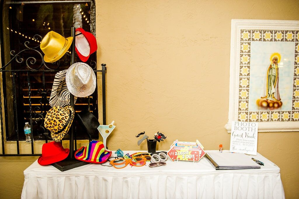 Orlando Wedding DJ Services at Mission Inn Resort wedding photo booth props