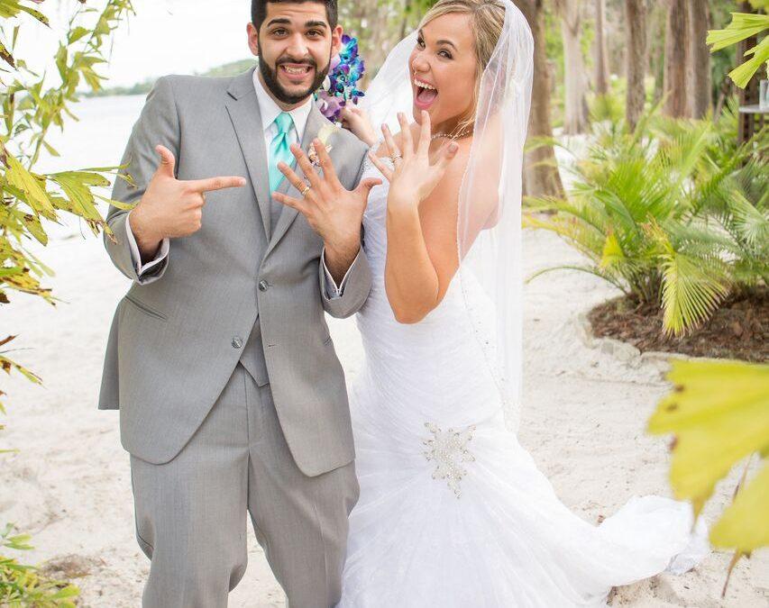 Paradise Cove Beach Wedding – Our DJ Rocks – Teal Uplighting