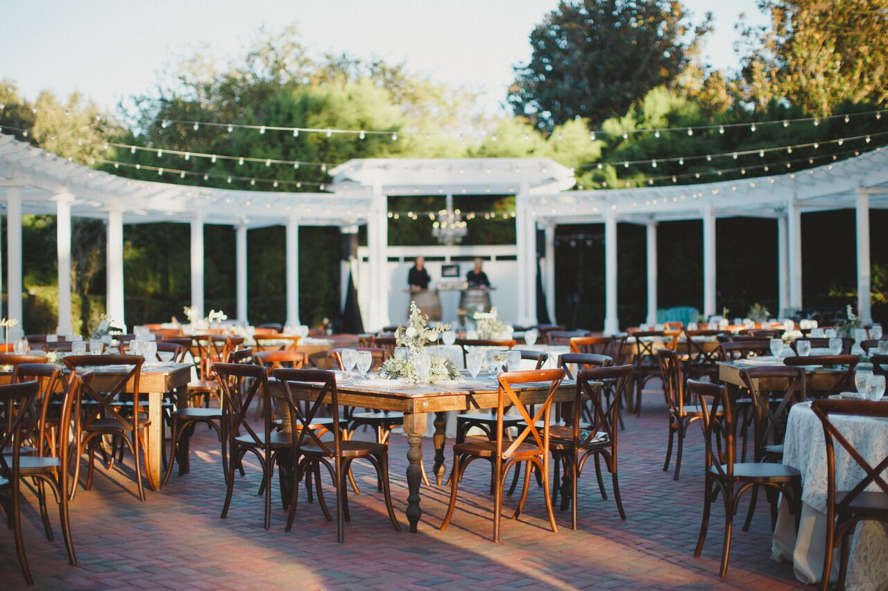 outdoor stunning wedding with farm tables