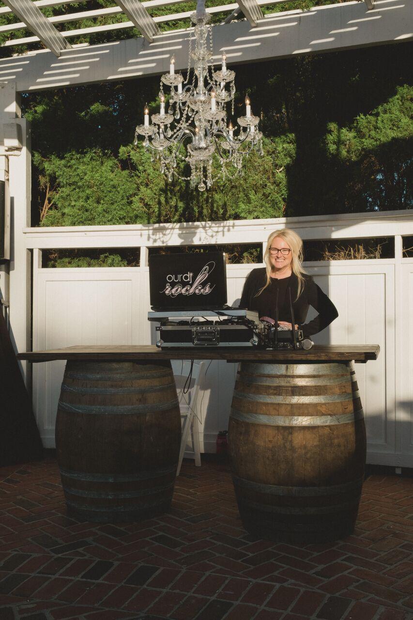 wedding dj, Kristin from Our DJ Rocks, at Cypress Grove Estate House wedding Our DJ Rocks