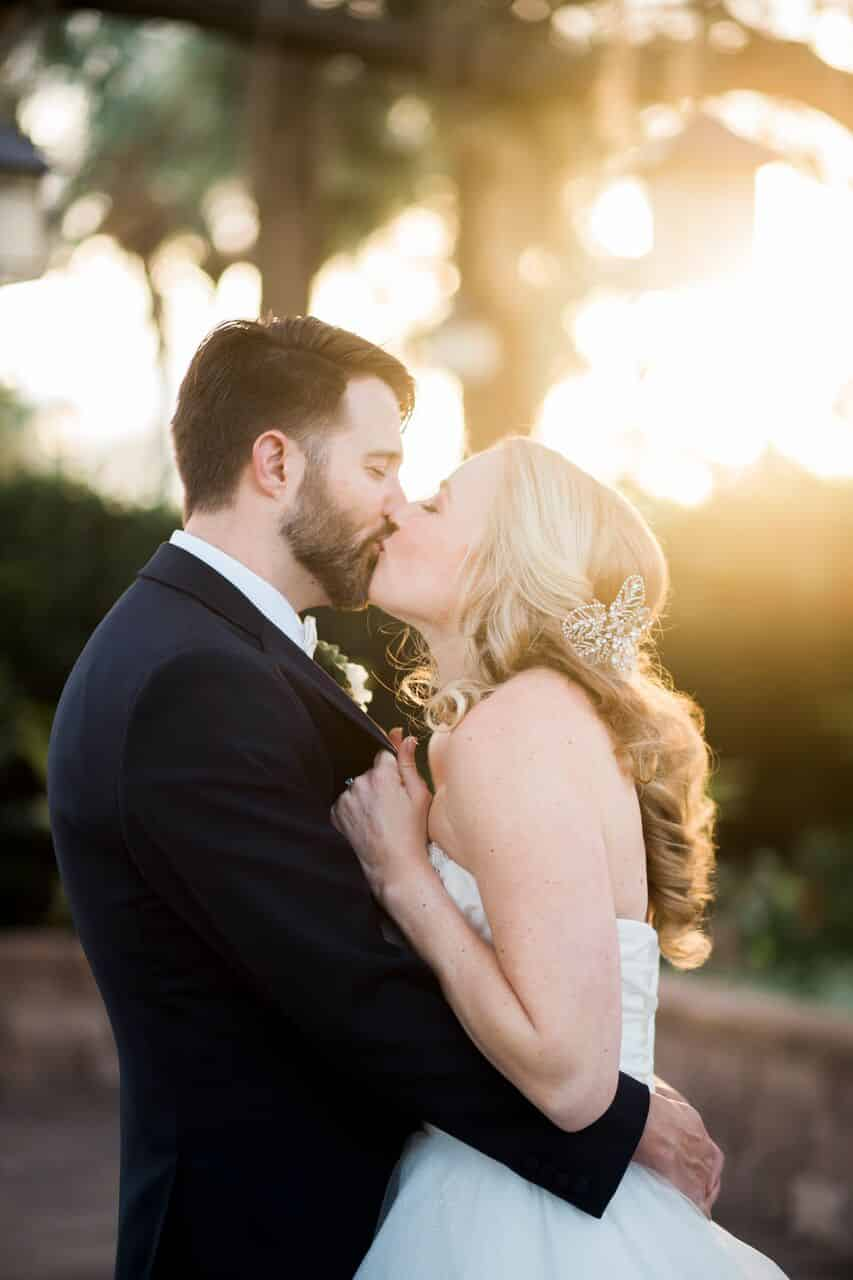 wedding dj experience at Hyatt Regency Grand Cypress wedding bride and groom kissing