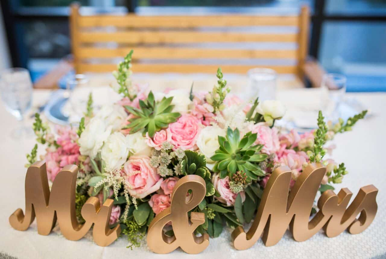 wedding dj experience at Hyatt Regency Grand Cypress wedding mr and mrs sign on table