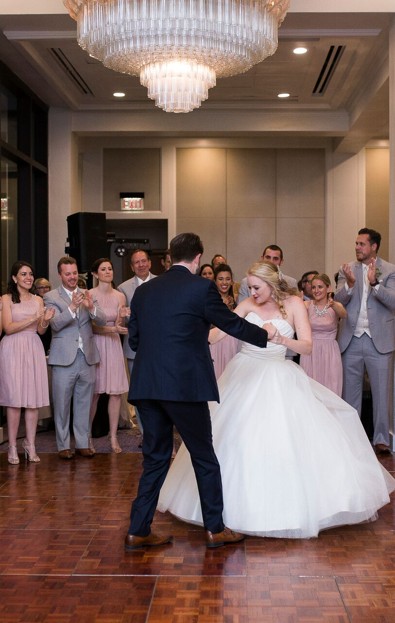 wedding dj experience at Hyatt Regency Grand Cypress wedding bride and groom first dance  on dance floor