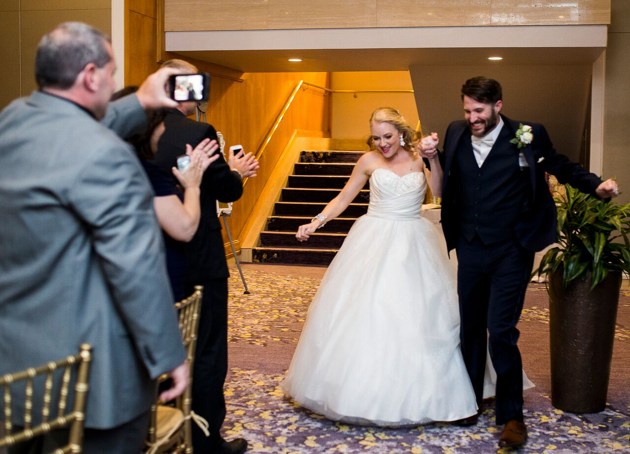 wedding dj experience at Hyatt Regency Grand Cypress wedding bride and groom grand entrance to reception