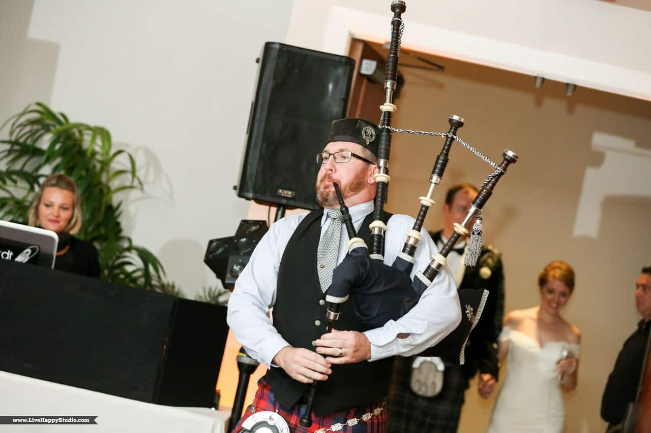 emale wedding dj at scottish inspired wedding at The Golden Bear Club wedding traditional scottish bagpipe player