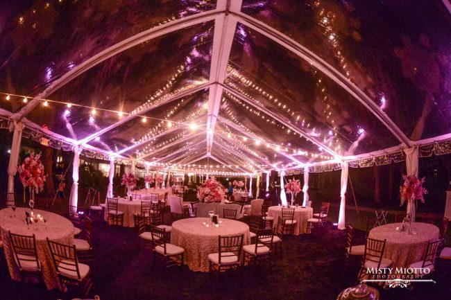 wedding dj fun at Cypress Grove Estate House wedding reception area with pink uplighting in clear tent