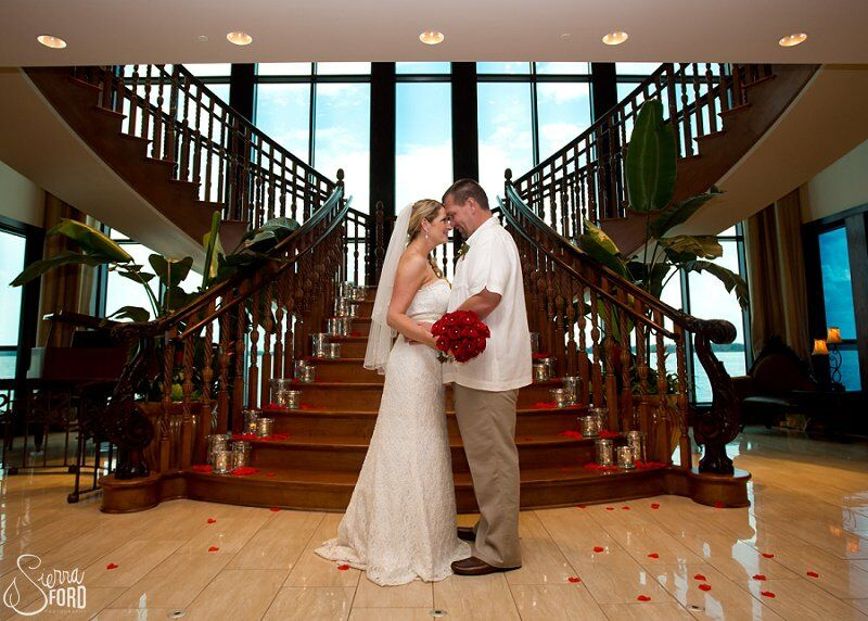 wedding dj service at Tavares Pavilion on the Lake wedding bride and groom photos by stairs