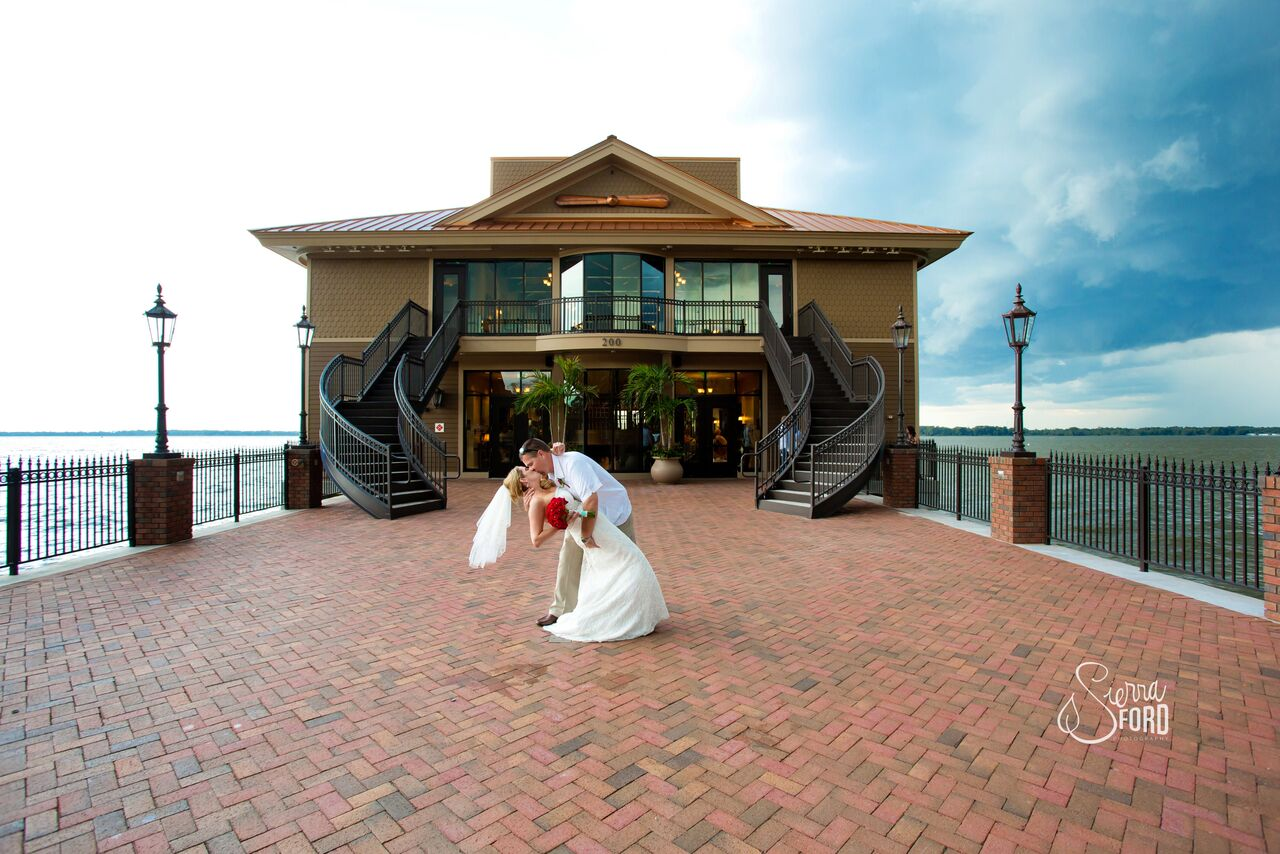 wedding dj service at Tavares Pavilion on the Lake wedding bride and groom kissing