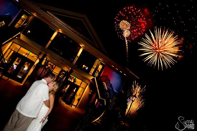 wedding dj service at Tavares Pavilion on the Lake wedding grand firework exit with bride and groom