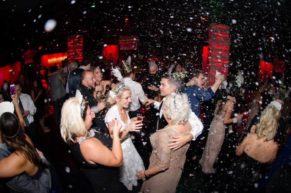 orlando wedding DJ at the Mezz NYE wedding reception dancing with snow