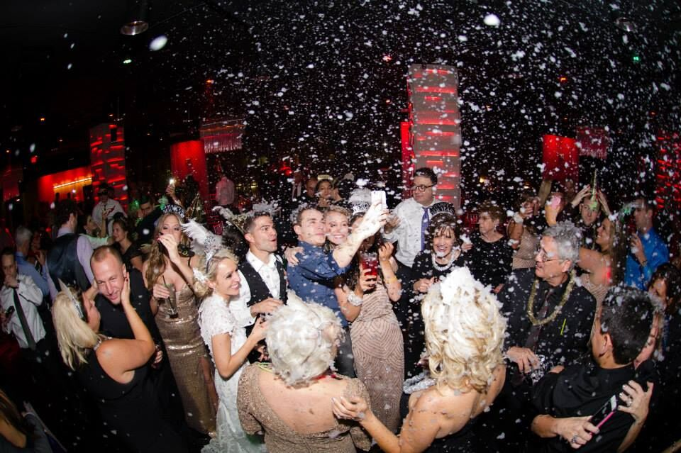 orlando wedding DJ at the Mezz NYE wedding dancing at reception with snow