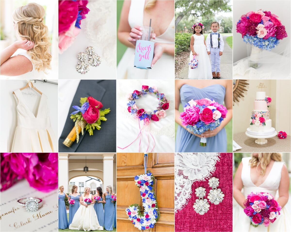wedding collage at Interlachen Country Club with amber uplighting
