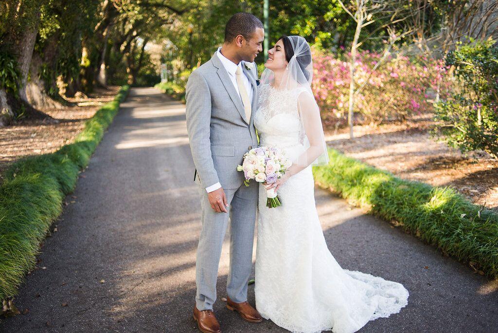 bride and groom at leu gardens wedding with dj in orlando