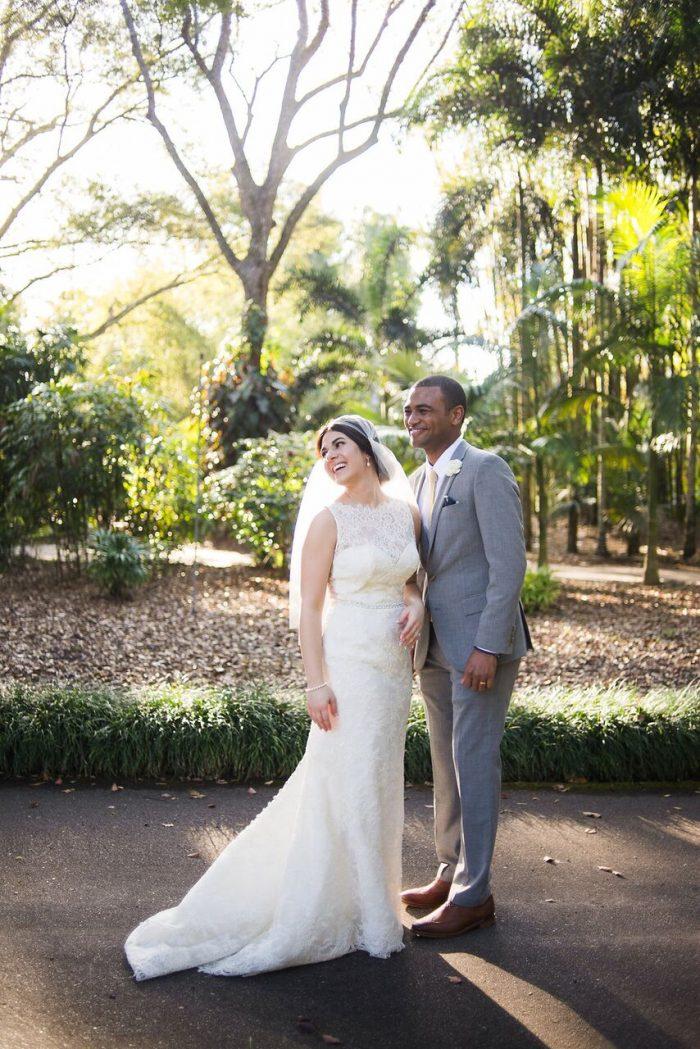 bride and groom smiling at leu gardens wedding with dj in orlando