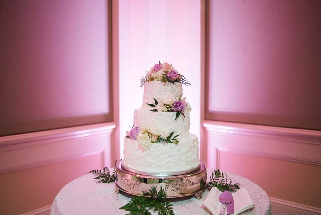 wedding cake at leu gardens wedding with pink uplighting and dj in orlando