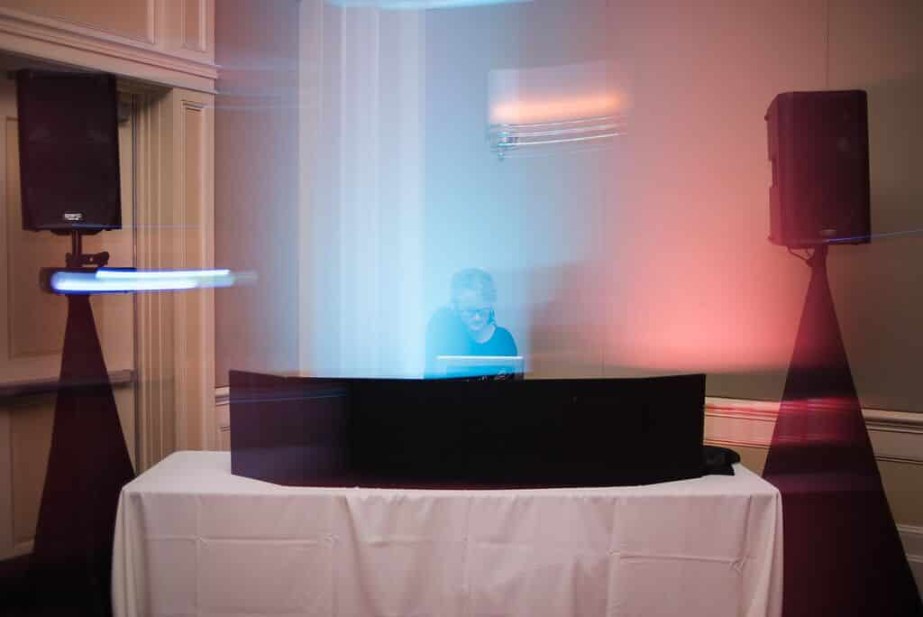 dj in orlando at leu gardens wedding with pink uplighting
