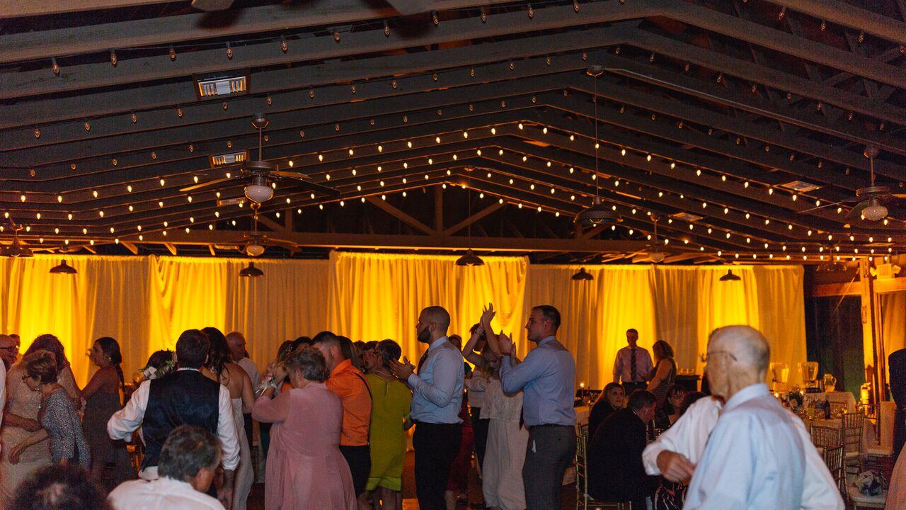 mission inn wedding with amber uplighting reception