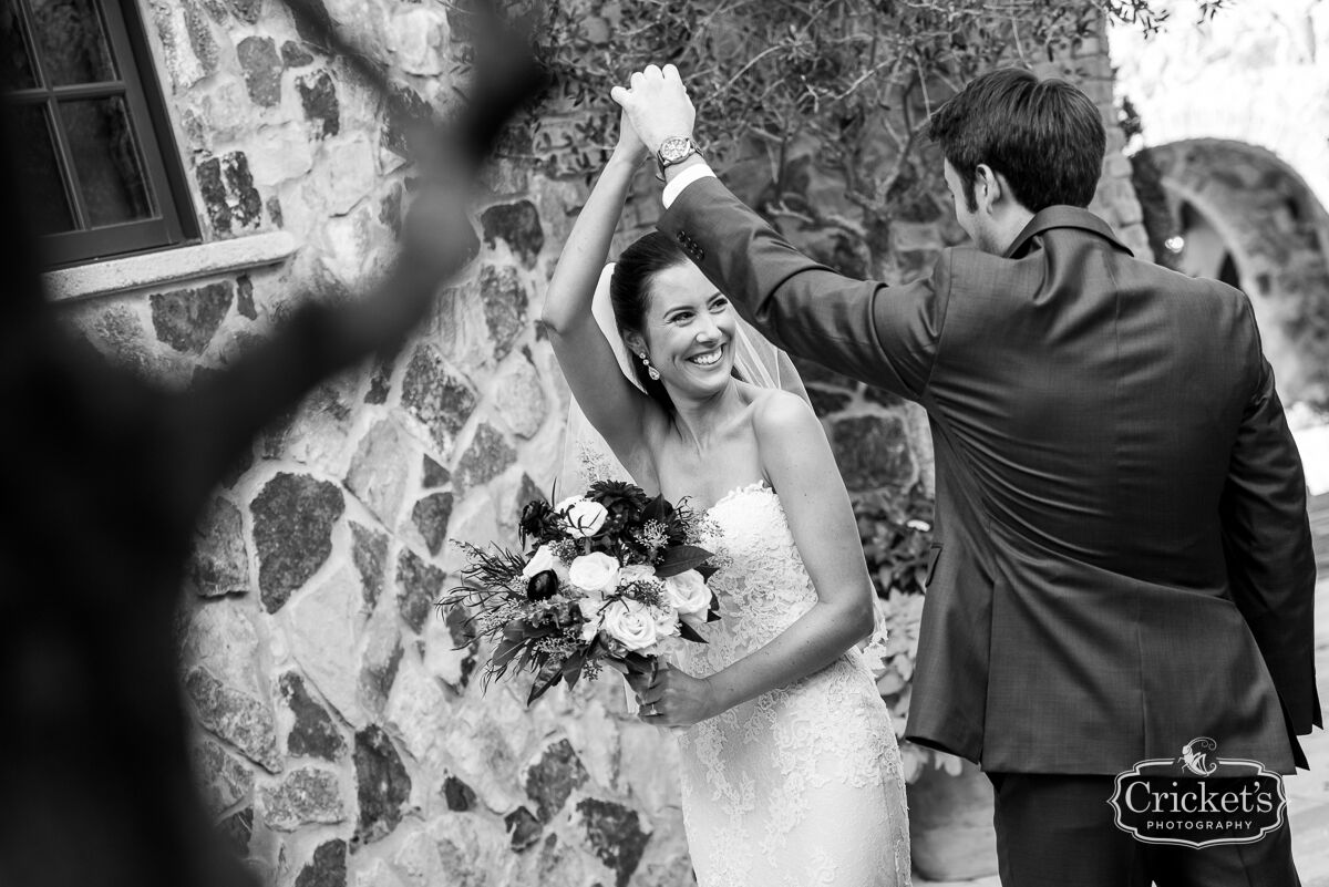 vendors who rock Crickets photography black and white groom and bride dancing