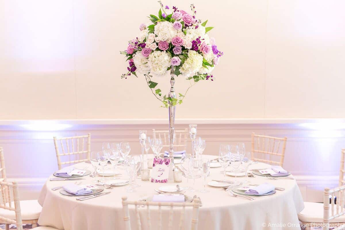 Wedding DJ in Orlando at Four Seasons Resort reception table decor setup