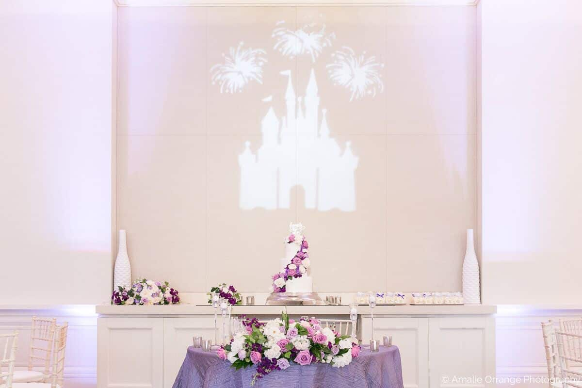 Wedding DJ in Orlando at Four Seasons Resort with Disney castle mural on wall