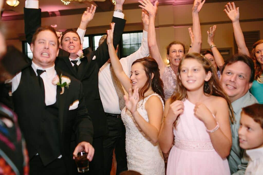 Our DJ Rocks at wedding at Noah's Event Venue guests dancing