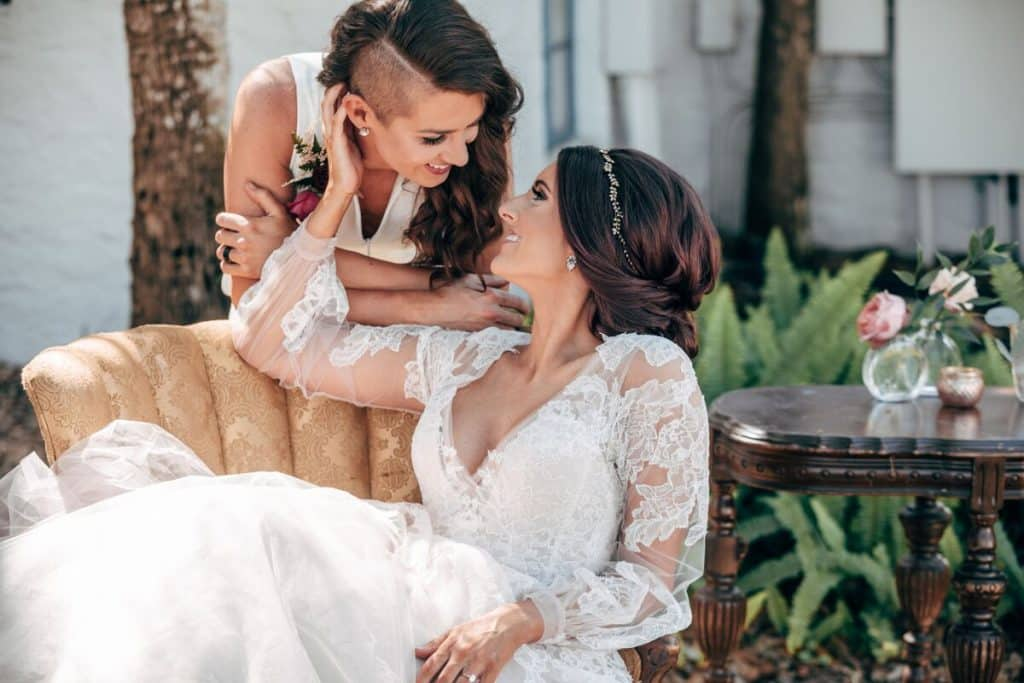 brides staring into each others eyes