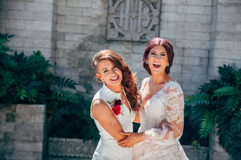 two brides smiling joyfully