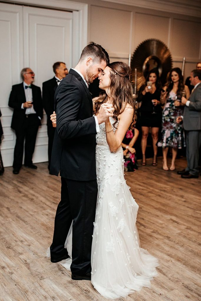 intimate bride and groom first dance