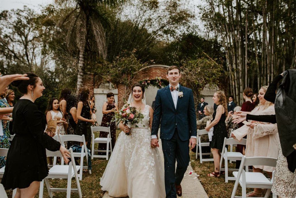 MacKay Gardens wedding Leila and Stephen walk down the aisle