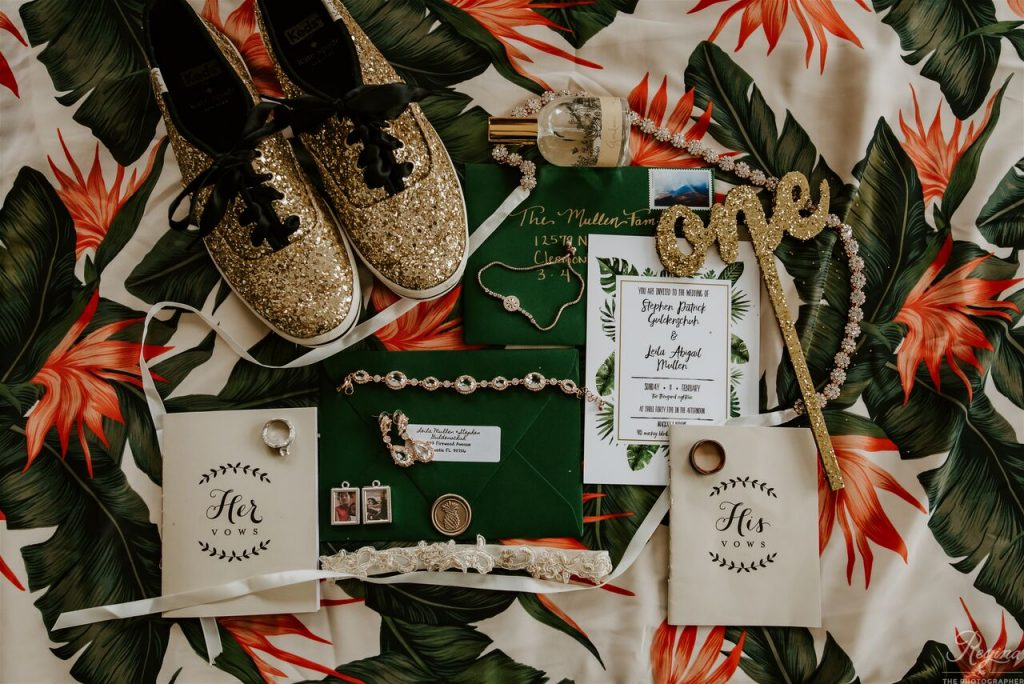 Leila and Stephen's wedding flat lay