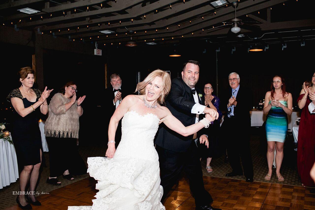 brittnee and joe having a blast at their reception