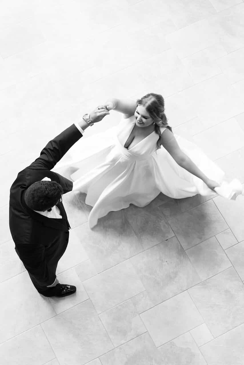 birdseye view of bride and groom on dance floor