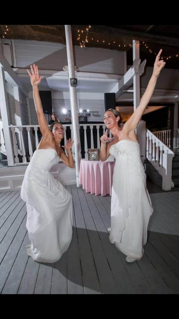 Brides Ashley and Petra know how to party!