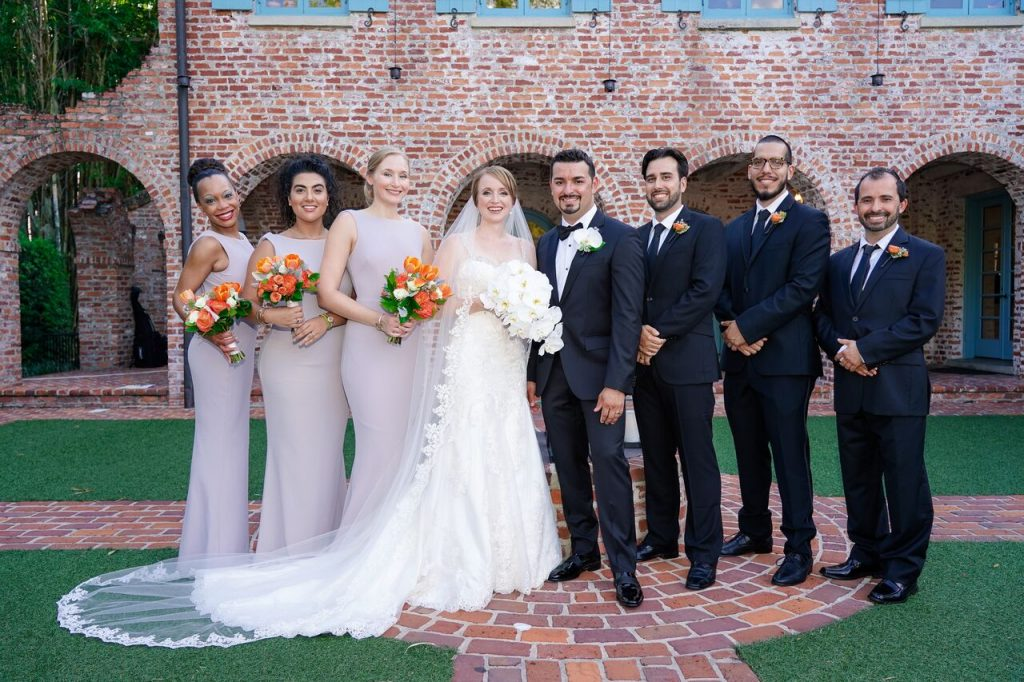 wedding party in Casa Feliz courtyard