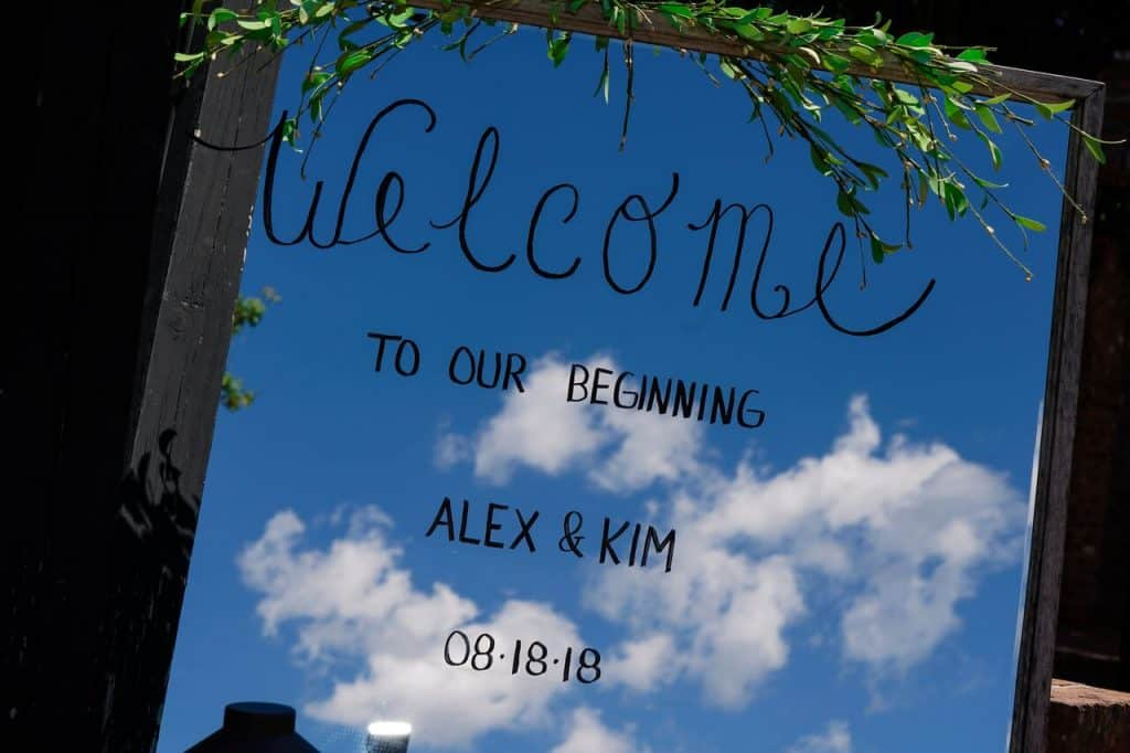mirror sign welcome to our beginning
