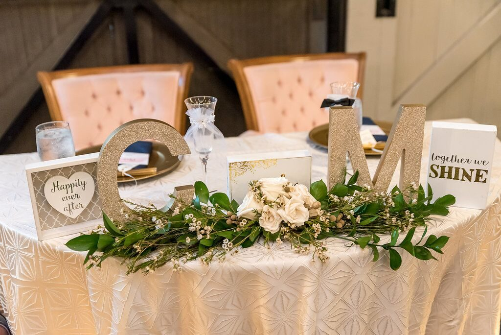 Sweetheart table with couple's initials