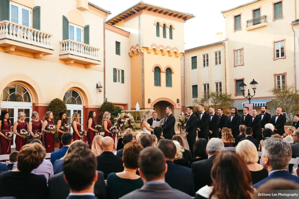 Outdoor Italian-themed wedding ceremony at Universal Orlando.