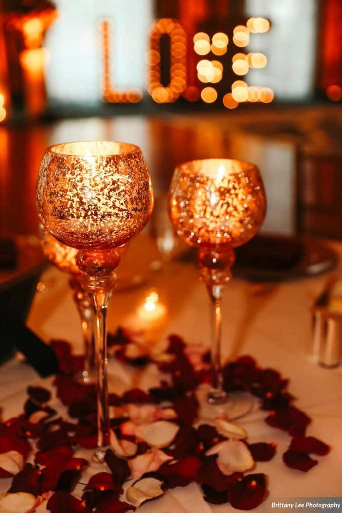 Mercury glass candleholder centerpieces for wedding reception