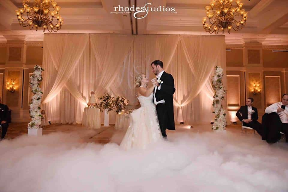 bride and groom's first dance on a cloud