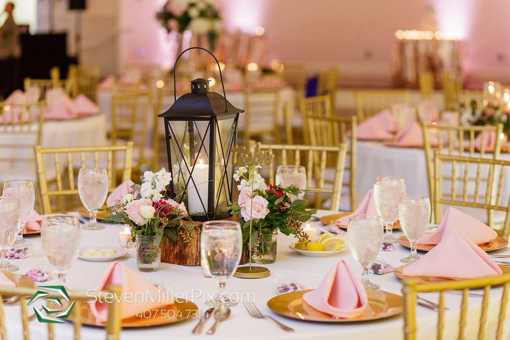 Lantern centerpieces at wedding reception table