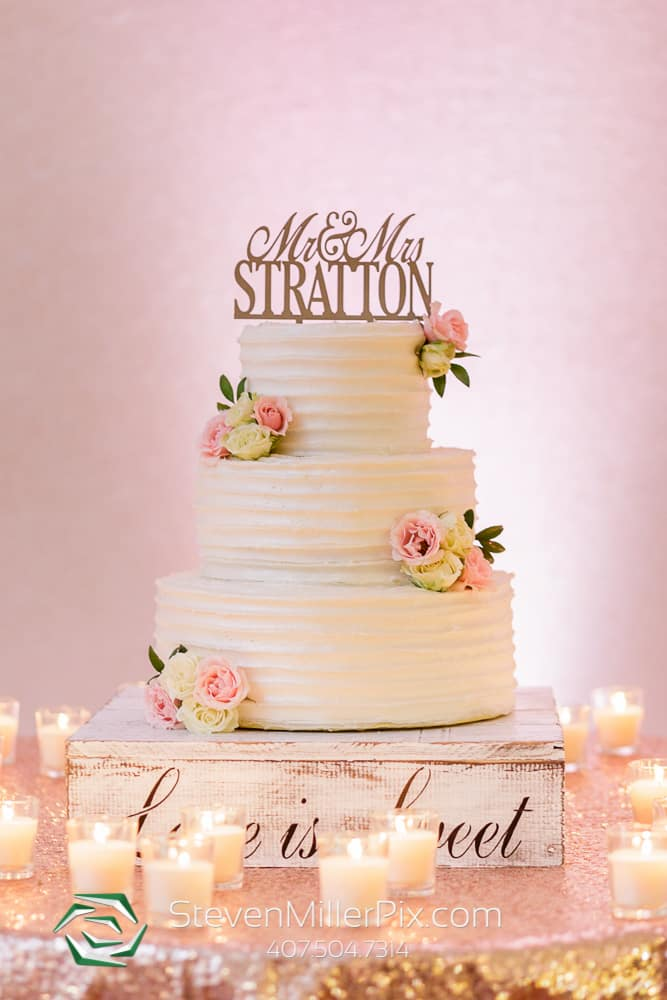 Sweet and simple wedding cake with customized topper
